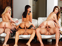 Horny wives sharing their husbands in an neighborhood orgy