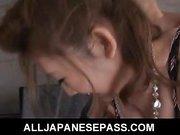 Japanese Karin Tsubaki has her furry muff punished