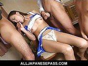 Japanese teen cheerleader sucking two cocks