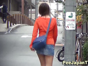 Asian babes pee a river