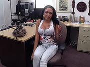 Brunette big tits Latina woman sells stolen phones gets fucked