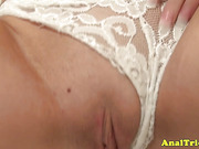 Anal first timer handling cock on her amateur butthole