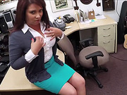 Busty brunette MILF get fucked hardcore inside the secret pawnshop