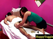Hot asian masseuse on spycam rubbing guy