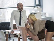 Sweet Kyras office pussy creamed in missionary hardcore sex