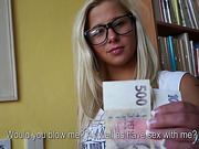 Hot nerdy girl Candy gets her tight pussy pounded by strangers massive cock