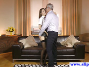 Euro schoolgirl babe rides geriatrics cock