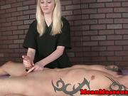 CBT femdom ruining subs orgasm during massage