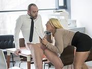 Horny hot secretary Kyra Hot gets wild fuck at the office with Pablo