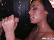 Latina gloryhole lover cleans pipes