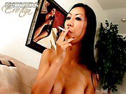 Flirty Asian bitch Tia Ling smokes and gives throat