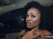 Busty ebony Julie Kay nailed in public