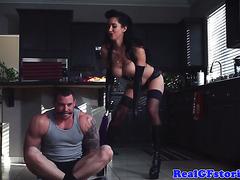 Beautiful busty housewife cum hot dominatrix