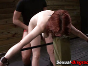 Bound bdsm sub cummed on