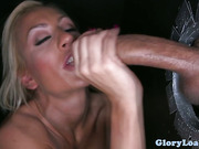 Gloryhole lover spoiling dick as she sucks it