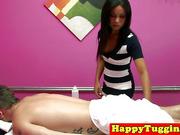 Petite asian masseuse rubs client cock