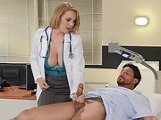 Doctors tender pussy gets dripping wet when her patient fingeres her hole