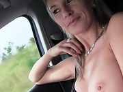 Busty Milf Alena gets hard action inside a car