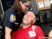 Police femdom milfs in group tugging and sucking