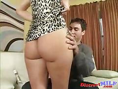 Horny cougar seduce young man with big cock