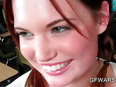 Blue eyed cutie gives POV style blowjob