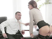 Horny Alexis Brill gets nailed by a bigcock of her boss in the office