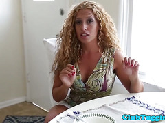 Homemade tugging video with naked stepmom pov
