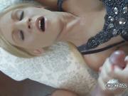 Blonde MILF Jolene gets her face splattered with cum
