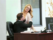 Seductive blonde babe Corinna allows her boss to fucked her tight pussy