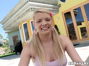 Pigtailed teen fucked outdoors
