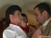Femdom flight attendants sucking cock in trio