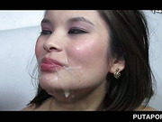 Asian tramp gets facialized and mouth cum filled