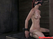 Ballgagged redhead sub whipped in dungeon