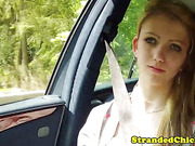 Hitchhiking teen amateur riding on cock
