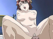 Maid anime fingering her wetpussy and riding dick
