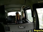 Busty taxi amateur titfucks and sucks cabbie cock