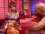 Asian kimono milf loves bbc pounding her hard