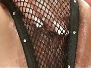 Ryo Kaede plays with her pussy in black fishnet panties before breaking out sex toys