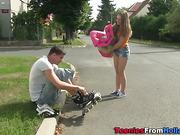Teen gets fucked outdoors