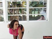 Dude sneaking on big boobs MILF Rachel Starr from the window