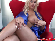 Busty milf tugging in threeway before facial