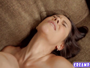 Hot brunette with big ass takes an anal creampie