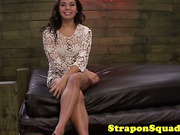 Femdom dominas torment lesbian sub with strapons