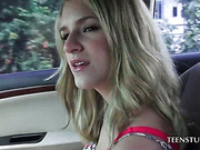 Blonde hitchhiking girl about to fuck in car