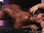 Deepthroating mature ebony masseuse assfucked