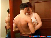 Busty big lady ridding on a skinny guy