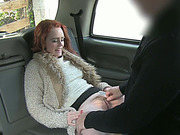 Cute redhead babe Ella trades sex for a free taxi fare