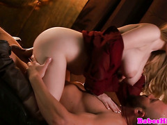 Busty model pussyfucked before cocksucking