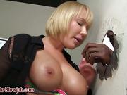 Curvy ho fucks black cock