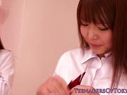 Japanese lesbians kissing after school